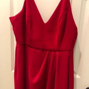 Red midi-dress